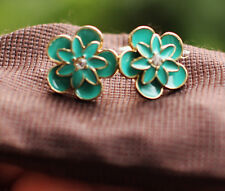 stud flower earrings with enamel Kate Spade graceful floral teal