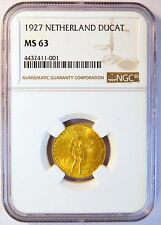 1927 Ducat Netherlands Gold Coin (NGC MS 63 MS63) (4804)