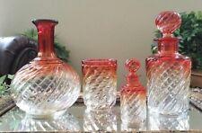Antique BACCARAT SET OF (4 pc) Rose Tiente Cut to Clear Vanity Set, EXCELLENT!