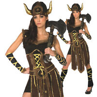 Womens Ladies Viking Barbarian Warrior Princess Fancy Dress Halloween Costume