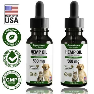Organic 2 Pack Hemp Seed Oil for Dogs Cats 100% for Anxiety Joint Health - 500MG