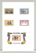 Uganda #395-399 Christmas, Angels, Bells 4v & 1v S/S Imperf Proofs on Card