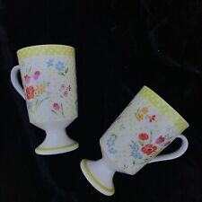 Vintage Coffee Mugs Millefleur Avant-Garde Japan Footed Floral Polka Dots Cups