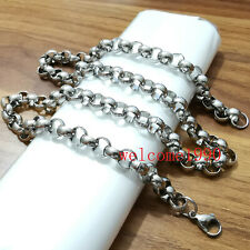 Heavy 10mm 24'' Stainless Steel Men's Shiny fashion Round Rolo Chain necklace