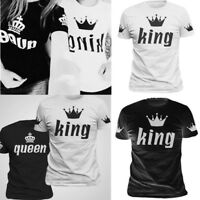 King and Queen White and Black Crown Printed Couple Matching Funny Cute T-Shirts