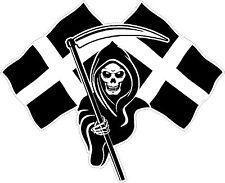 Racing Grim Reaper Skull Cornish Flag Car MotorBike Bike Van Sticker Small