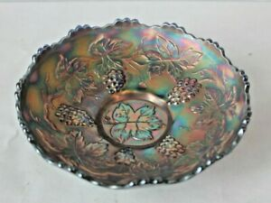 Art Deco Carnival Glass Iridescent Blue Dish Embossed Grapes