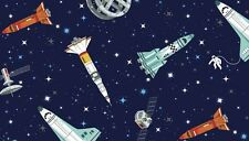 GALAXY Rockets on navy Cotton fabric Makower Size 55 cm x 50 cm larger available
