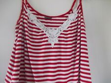LOVELY EVANS RED@ WHITE STRIPE  TOP. SIZE 22