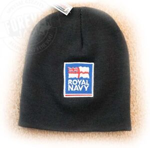 ROYAL NAVY LOGO EMBROIDERED BEANIE HAT - BLACK OR NAVY
