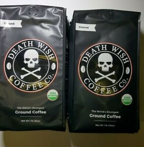2x DEATH WISH GROUND COFFEE Organic TWO 1 LB Bags - STRONGEST BB 11/21