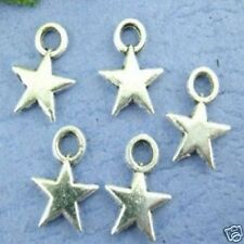 50 x Silver Plated Solid Star Pendant Charms