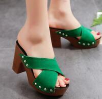 High Chunky Heels Platform Peep Toe Mules Slippers Sandals Womens Ladies
