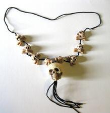 Voodoo Small Skulls Skeleton Witch Doctor Necklace Halloween Costume Accessory