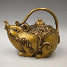 China Antique Brass sculptured decorative mouse teapot flagonr Qianlong mark
