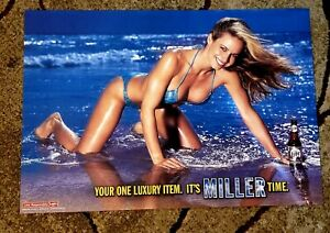 Sexy beach bikini blonde Girl ..a 2002 Miller Beer  Poster