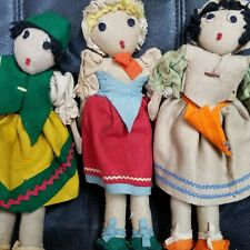 3 Vintage Felt Cloth Dolls
