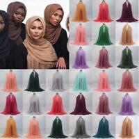 Women Viscose Crinkle Cloud Hijab Scarf Shawl Islam Muslim Scarves Warp Stole
