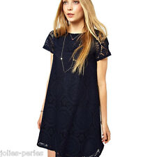 Hot Ladies Fashion Casual Oversize Fit Loose Lace Floral Summer Mini Prom Dress