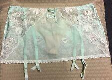 Victoria Secret Light Green Garter Belt Sheer Lace w/ Thong Size M/M NWT