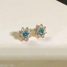 Oval aquamarine & diamante oval stud earrings 13mm x 11mm 18k gold gf Plum BOXD