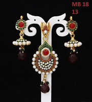 Pendant Set with Earrings Gold Plated Cubic Zircon, Red-Wine Crystal Studded