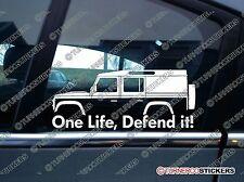2x Une vie, le défendre! Silhouette Autocollants Pour Land Rover Defender 110 utilitaire