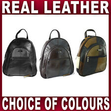 REAL LEATHER BACKPACK rucksack bag zipped pockets adjustable strap Gents Ladies