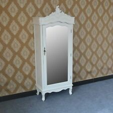 French White Chateau Shabby Chic Mirrored Single Door Armoire Wardrobe