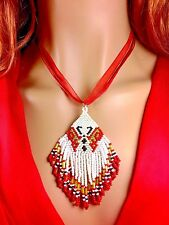 Handmade beaded Red White Butterfly Pendant Necklace N17/16