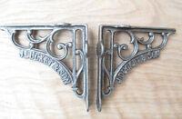 """5"""" PAIR of J DUCKETT antique Vintage cast iron shelf bracket Sink Toilet Cistern"""