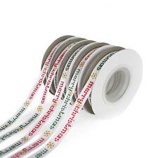 10m Reel Satin Christmas Snowflake & Merry Christmas Ribbon - 10mm & 16mm