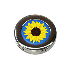 Sunflower Blue Background Foldable Purse Handbag Hook Hanger Holder