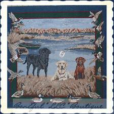 BonEful Fabric Scenic Tapestry Gun Duck Bird Fish Hunt Lab*rador Dog Log Cabin L