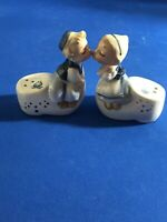 Vintage Kissing Dutch Kids Clogs Salt and Pepper Shakers Enesco