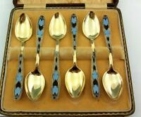 CASED SET OF 6 SOVIET RUSSIAN  SOLID SILVER GILT ENAMEL SPOONS