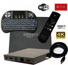 AMAZON FIRE TV BOX Alexa 4k 1080P TV MOVIES Backlit Keyboard HDMI 3rd party apps