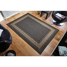 Greek Key Black Flatweave Anti-Slip Hardwearing Rug in various sizes and runner