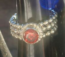 New Unique Sterling silver stamped 925 3 piece bubble ring red stone size L 59