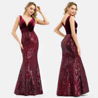 Ever-Pretty UK Long Burgundy V-neck Evening Gowns Bodycon Cocktail Party Dresses