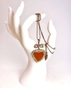 ANTIQUE • Georgian Silver Carnelian Witch's Heart Crystal Paste Chain Necklace