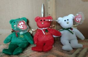 """TY JINGLE BEANIES  3 """" GIFT """" BEARS RED,WHITE & GREEN- HALLMARK EXCLUSIVE (LOT)"""