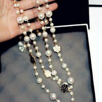 Luxury Multi Layer Necklace Pearl Camellia Flower Women Jewelry Mother Day Gift