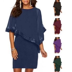 Fashion Womens Short Sleeve Sequin Poncho Sleeveless Slim Cocktail Evening Dress