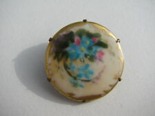 Knot Flowers Porcelain C Clasp Brooch Antique Victorian Hand Painted Forget Me