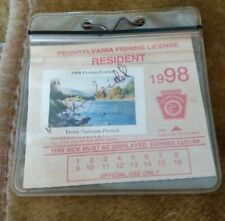 1998 Old Pennsylvania Resident Fishing License With Trout Salmon Permit Stamp