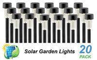 20 Pack LED Solar Garden Path Lights Black Warm White DIY