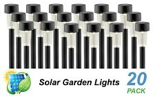 20 Pack LED Solar Garden Path Lights Black Warm White DIY