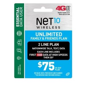 Net10 $75/Month 2 Line Family Plan Refill: Unlimited Talk/Text/Data,fast & right