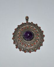 ANTIQUE SILVER CORALS AND OPAL ROUND PENDANT